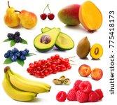 fresh fruit collage on white...   Shutterstock . vector #775418173