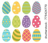 collection of easter eggs  flat ... | Shutterstock .eps vector #775424770