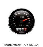 calendar 2018 in speedometer... | Shutterstock . vector #775432264