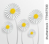 paper flower. chamomile are cut ... | Shutterstock .eps vector #775457530
