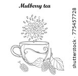 vector contour cup of mulberry...   Shutterstock .eps vector #775457728