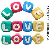 LOVE plasticine letter on a white background - stock photo