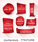 set of christmas parchment... | Shutterstock .eps vector #775471498