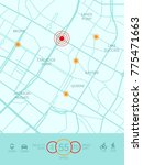 vector city map with route and... | Shutterstock .eps vector #775471663