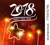 happy new year 2018  typography ... | Shutterstock .eps vector #775476796