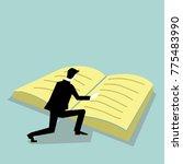 businessman reading  big book... | Shutterstock .eps vector #775483990