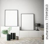 mock up poster frames in... | Shutterstock . vector #775492813