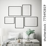 mock up poster frames in... | Shutterstock . vector #775492819