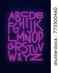 neon pink alphabet poster. | Shutterstock . vector #775500460