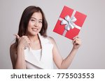 young asian woman thumbs up...   Shutterstock . vector #775503553