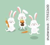 Stock vector cute white bunny with carrot rabbit vector animal and food cartoon 775522630