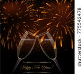 new year fireworks and... | Shutterstock .eps vector #775542478