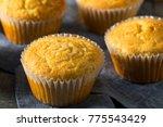 Stock photo golden sweet homemade cornbread muffins for lunch 775543429