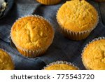 Stock photo golden sweet homemade cornbread muffins for lunch 775543720