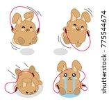 little bunny rope jumping  set... | Shutterstock .eps vector #775544674