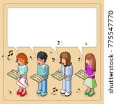 two women and two men singing... | Shutterstock .eps vector #775547770