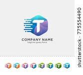 t hexagon letter logo design.... | Shutterstock .eps vector #775554490