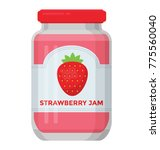 delicious strawberry jam glass ... | Shutterstock .eps vector #775560040