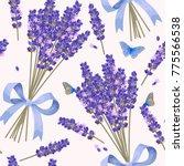 lavender flowers seamless... | Shutterstock .eps vector #775566538