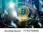 bitcoin in a soap bubble.... | Shutterstock . vector #775570900