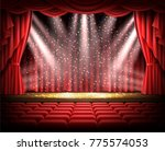 open red curtain and empty... | Shutterstock .eps vector #775574053