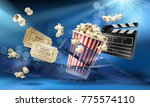 cinema blue background with 3d... | Shutterstock .eps vector #775574110