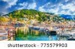 harbour of porte de soller ... | Shutterstock . vector #775579903