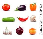 set of fresh vegetables in... | Shutterstock . vector #775586464