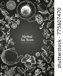 herbal tea shop frame vector... | Shutterstock .eps vector #775607470