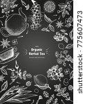 herbal tea shop frame vector... | Shutterstock .eps vector #775607473