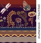 vector floral seamless border ... | Shutterstock .eps vector #775625560