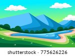 meadow and lake landscape | Shutterstock .eps vector #775626226