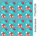 seamless pattern with blue... | Shutterstock .eps vector #775639228