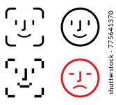 face id icons. face scanning... | Shutterstock .eps vector #775641370