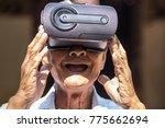 senior mature  white hair old... | Shutterstock . vector #775662694
