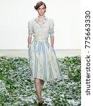 Small photo of NEW YORK, NY - September 07, 2017: Liv Mason Pearson walks the runway at the Brock Spring Summer 2018 fashion show during New York Fashion Week