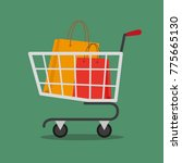 shopping cart with shopping... | Shutterstock .eps vector #775665130
