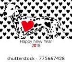 dalmatian new year card | Shutterstock .eps vector #775667428