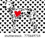 black and white heart... | Shutterstock .eps vector #775669714