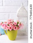 pink roses flowers in green cup ...   Shutterstock . vector #775681630