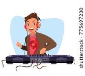 modern dj vector. playing... | Shutterstock .eps vector #775697230