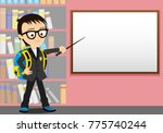 schoolboy with a pointer in his ... | Shutterstock .eps vector #775740244