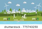 paper art of green landscape... | Shutterstock .eps vector #775743250