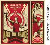 revolution propaganda poster... | Shutterstock .eps vector #775744054