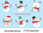 set of winter holidays snowman. ... | Shutterstock . vector #775744939