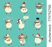 winter snowman set. funny...   Shutterstock . vector #775752700
