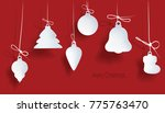 christmas toy on a red... | Shutterstock . vector #775763470