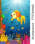 cute fish cartoon in the sea | Shutterstock . vector #775764460