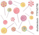 striped candy canes and candy... | Shutterstock . vector #775765798