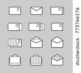 envelope icon set. white ui...